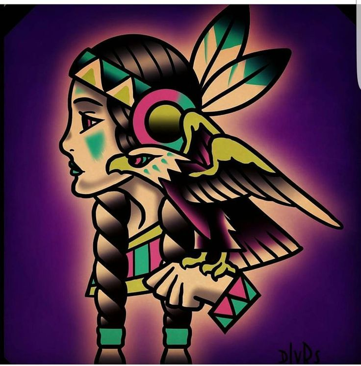 'Neon Indian' available to tattoo! DM me for scheduling. Traditional style with a colorful twist can't be beat!