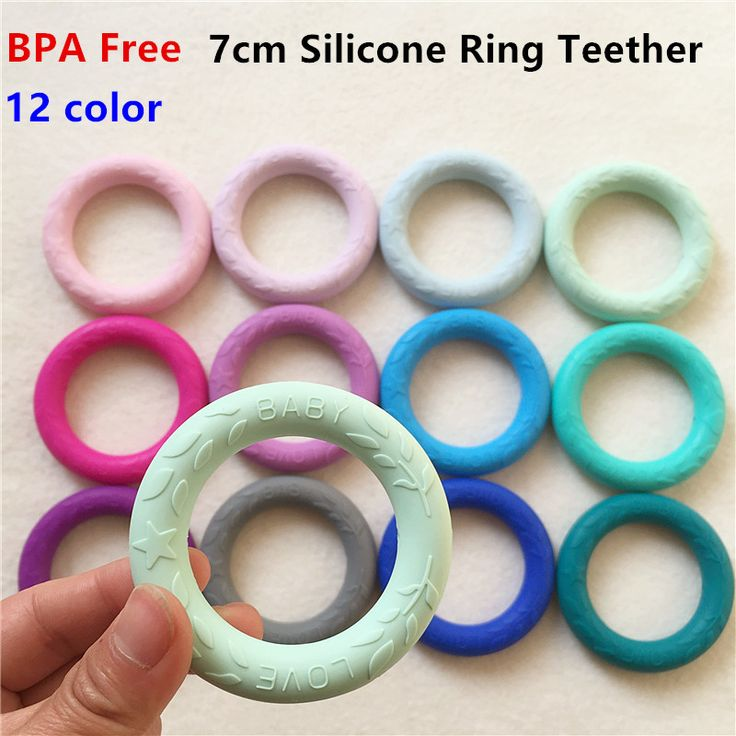 2PCS BPA Free O shape Silicone Ring Teether DIY Chewable Pendant Necklace Beads Baby LOVE Concave Pacifier Dummy Teethering #Affiliate