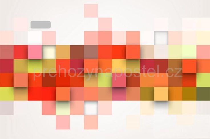 Bílé dekorativní podložky na stůl s barevnými čtverci