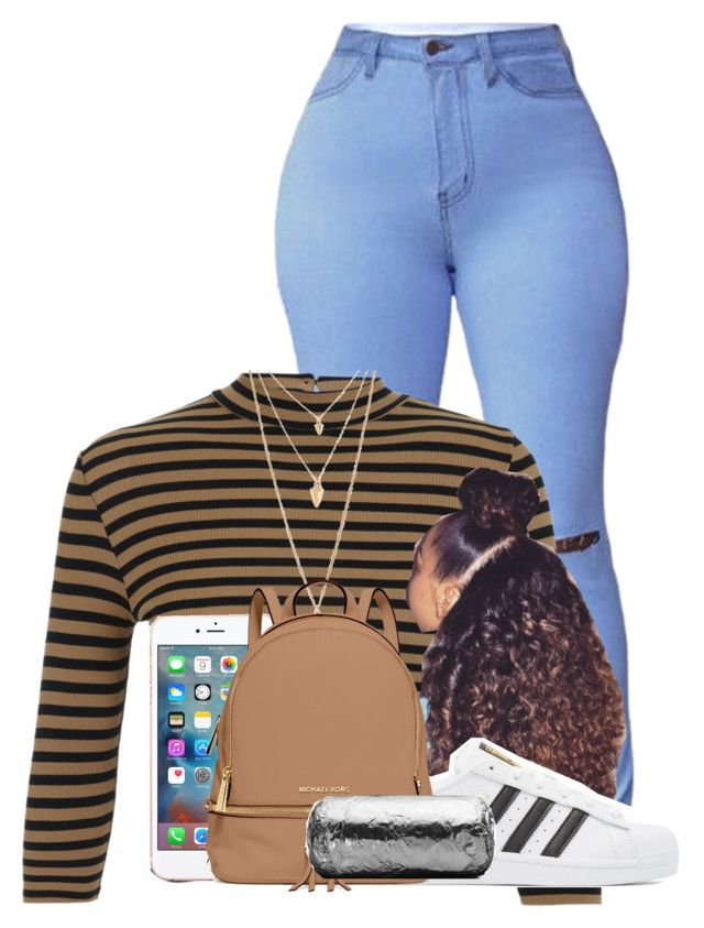 """""""»"""" by breelynrenee ❤ liked on Polyvore featuring Miss Selfridge, adidas Originals, Forever 21 and MICHAEL Michael Kors"""