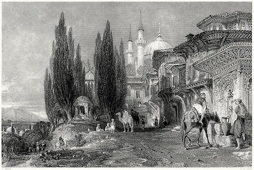 Emir Sultan mosque, Bursa. Thomas Allom, from Constantinople, by Robert Walsh, London, 1839. (Source: archive.org)