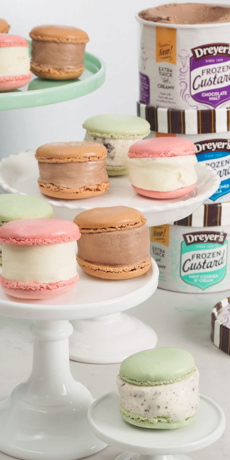 Dreyer's Frozen Custard Macaron Sandwiches: A recipe that's quick and easy — and sweet and savory! Simply buy a variety of colorful macarons from your local bakery and remove the filling from the center. Then, to create the sandwich, place a scoop of your family's favorite flavor of Frozen Ice cream in between the two pieces of a macaron. Who would have thought something this delicious could be this easy to make!?