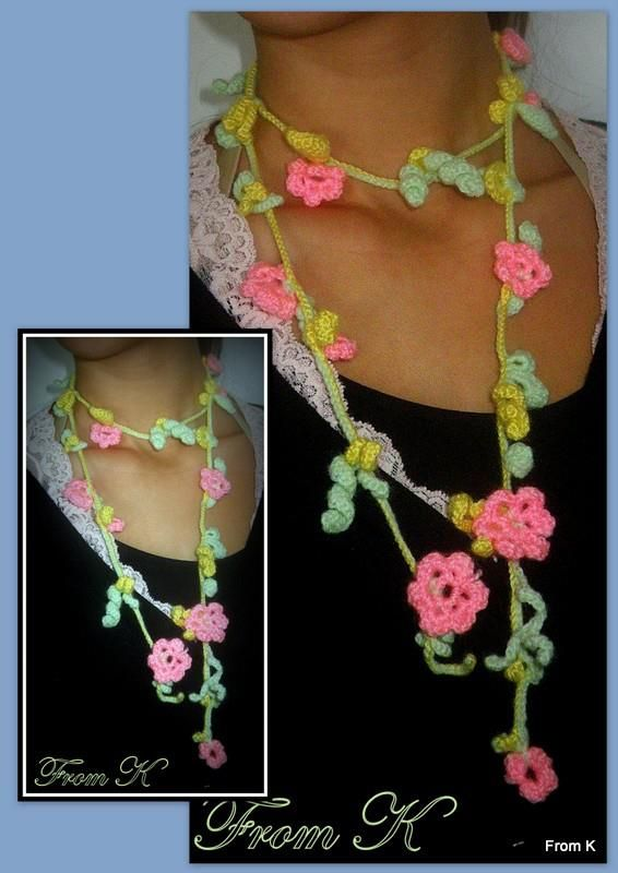 #Crochet #Floral #neck #accessory. It can be used in several ways as well as a scarf, head band, bandana, wrap, even very attractive belt.  For more visit FB page https://www.facebook.com/media/set/?set=a.561257837233852.117610562.246629745363331type=3 #crochet #accessories #jewelry #scarf