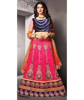 Vibrant Pink Silk Lehenga Choli With Dupatta.