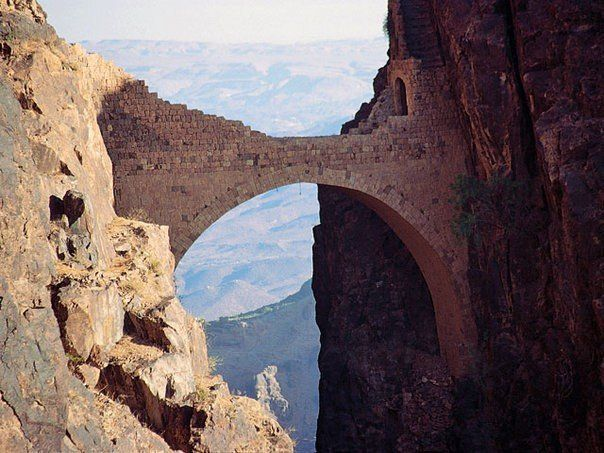 the shahara bridge yemen  Built to fight Turkish invaders. this engineering marvel spans a 300 ft. deep canyon