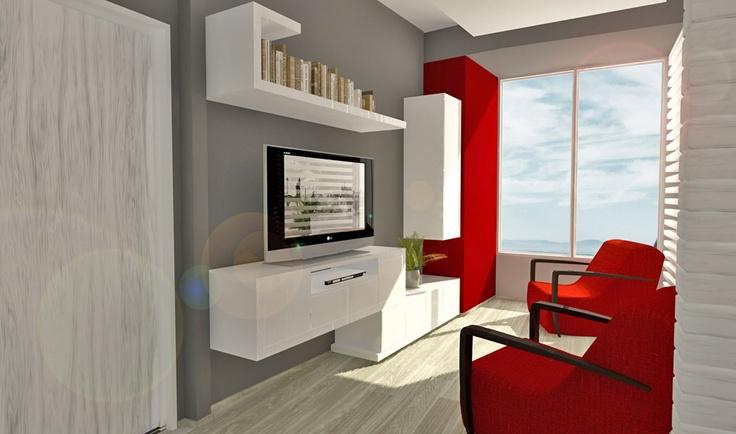 Diseño de interiores. Diseño de muebles y elementos de decoración. Diseño de iluminación. Diseño de sala de TV.