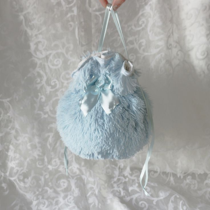 Blue plush pompadour purse evening handbag wristlet drawstring reticule by AlicesLittleRabbit on Etsy