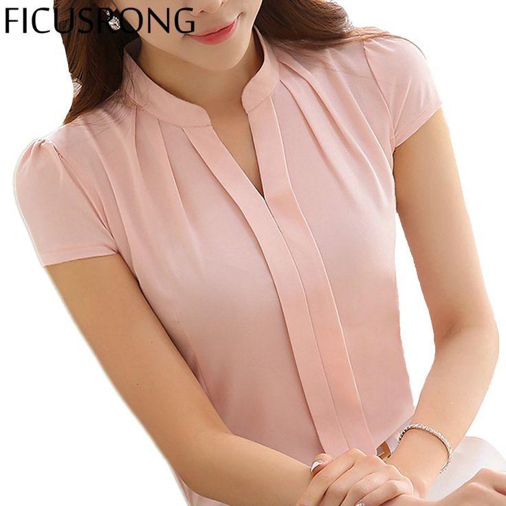 FICUSRONG New Office Women Shirts Blouses White Pink Purple Elegant Ladies Chiffon Blouse Short Sleeve Womens Tops Chemise Femme