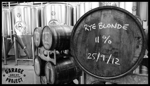 Our 'Bastard Rye' aging in Bourbon Barrels