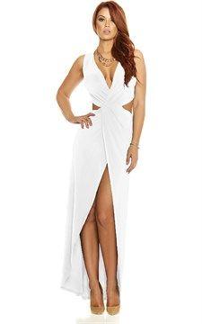 Sleeveless Cutout Gown   White
