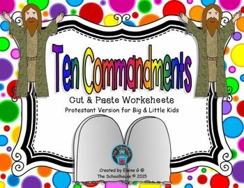 Heres a set of cut and paste worksheet activities for the Ten Commandments for big and little kids!  The pages included are.4 stone tablets  2 in color (1 with roman numerals, 1 with plain numerals), 2 in bw (1 with roman numerals, 1 with plain numerals)2 lists of Commandments to glue on to the stone tablets (1 for big kids and 1 for little ones)1 worksheet to place the Commandments in order from 1-102 cut & paste worksheets to place the number of the Commandment next to the Commandment (...