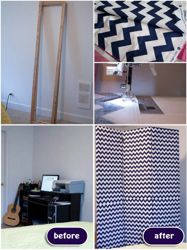 Cover wooden frames with fabric and make a folding screen out of them.