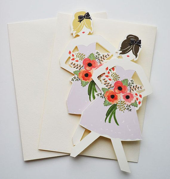 Will you be my Bridesmaid Cards/ Minimum of 3 by firstsnowfall