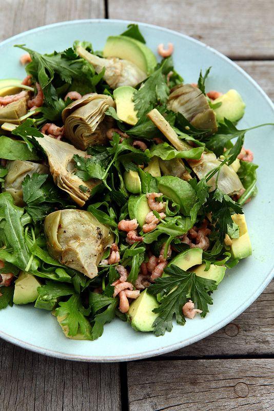 Oh-oh salade van jonge artisjok en garnaaltjes