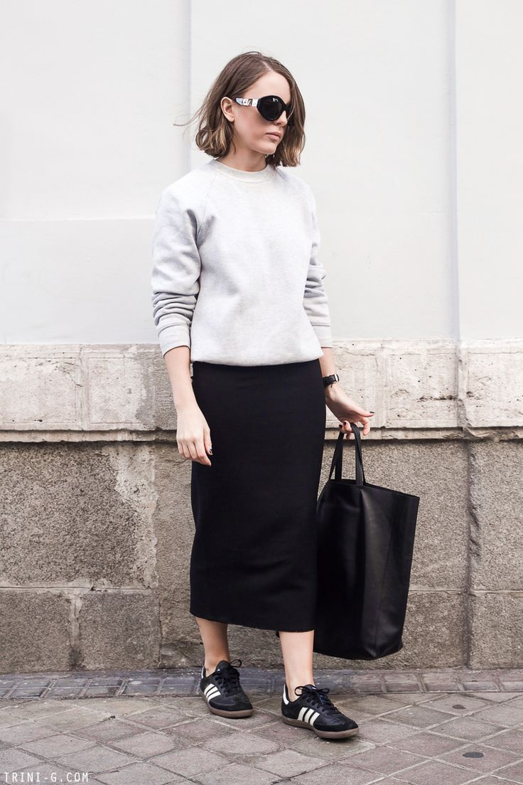 Trini   Isabel Marant midi skirt Fruit of the Loom grey sweatshirt Adidas Samba sneakers Celine cabas bag The Row sunglasses