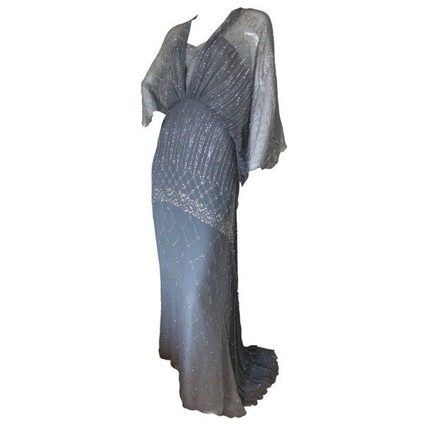 Preowned 1970s Gina Fratini Ombre Silk Glitter Gown With Train ($1,600) ❤ liked on Polyvore featuring dresses, gowns, vintage, grey, long silk dress, shift dress, long sleeve evening dresses, long evening dresses and long sleeve gowns