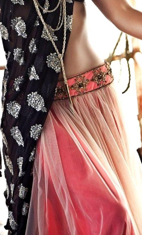 Lehenga gold zari zardozi indian weddings bride bridal wear www.weddingstoryz.com details black peach pink coral