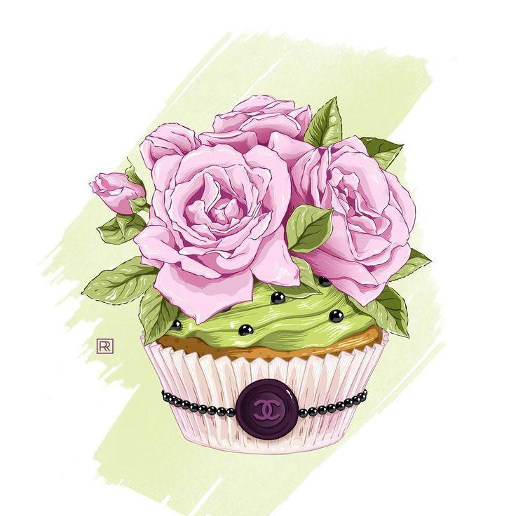 #illustration #fashionillustration #flowers #rose #roseflowers #cupcakes #chanel #chanel5 #candy #fashion #vogue #style #иллюстрация #моднаяиллюстрация #цветы #розы #сладости #кексы #стиль #мода #шанель