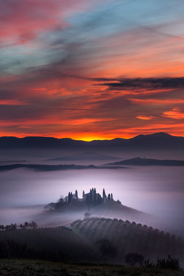 Towards the Heaven ~ sunrise and early morning fog, San Quirico d'Orcia, Province of Siena, Tuscany, Italy - by Alberto Di Donato