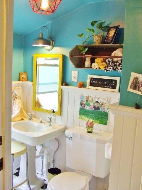 Muebles De Baño Reciclados:Cute Teal Bathroom