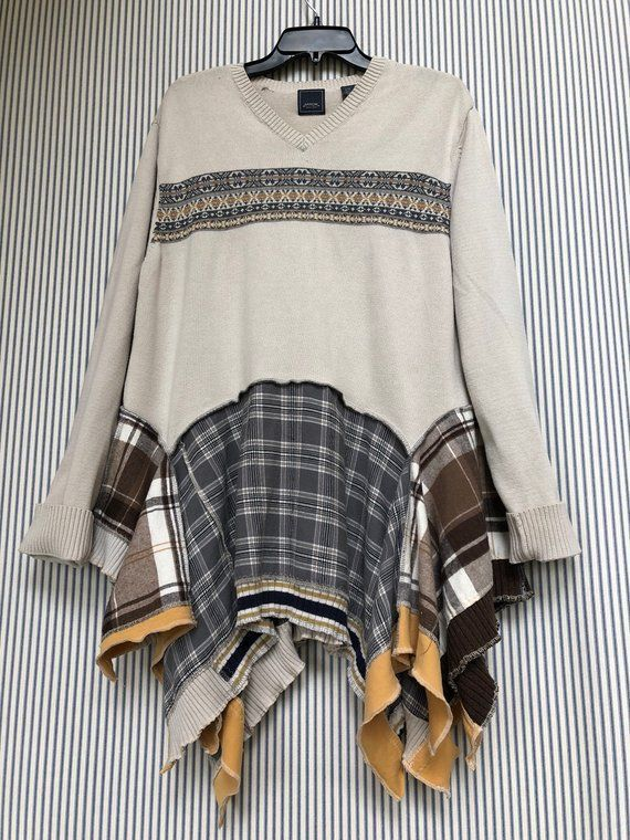 Upcycled Baumwolle V Ausschnitt Loose Fit Pullover Pullover Tunika
