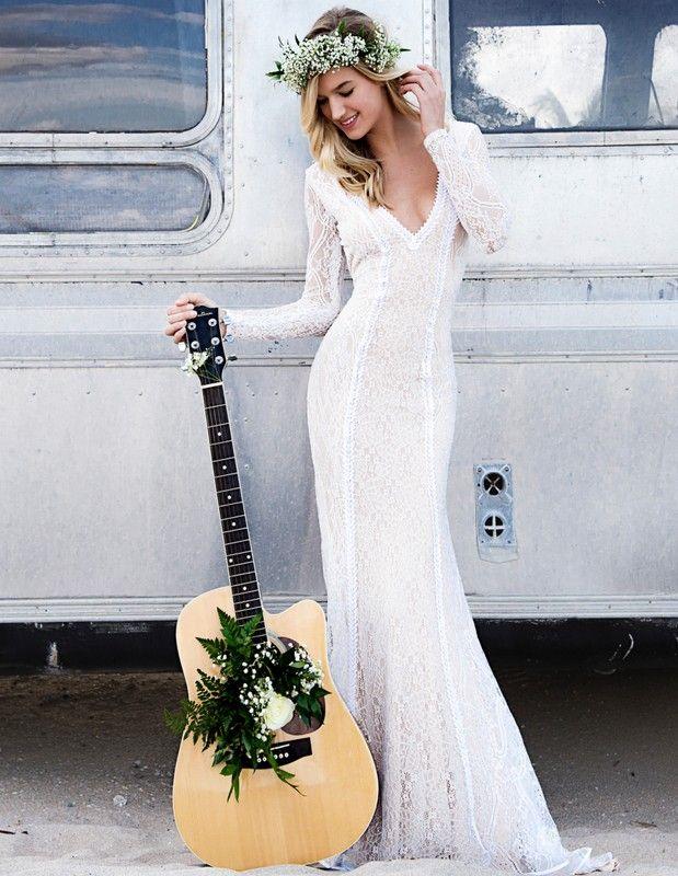 Boho Bride with Guitar.  V-neck Lace Gowns. Boho Bride. Beach Bride.