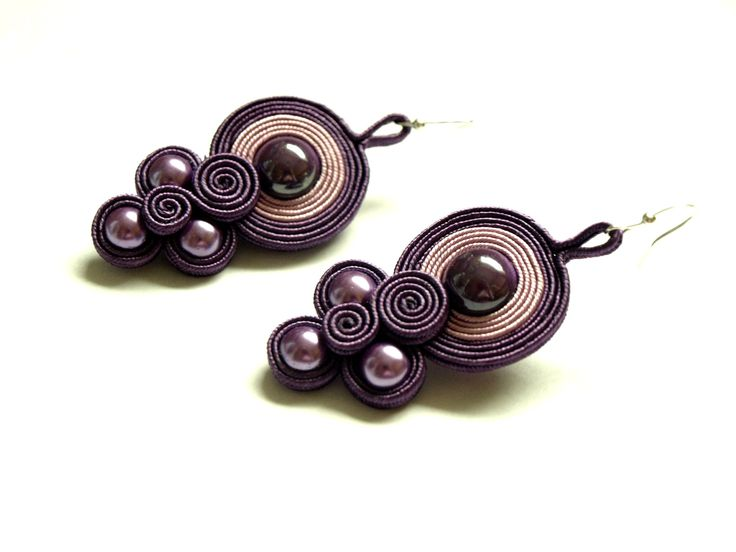 Plum purple pink soutache earrings - soutache jewelry - hand embroidered earrings - gift for her -  bead embroidery  earrings - bilateral. $22.00, via Etsy.
