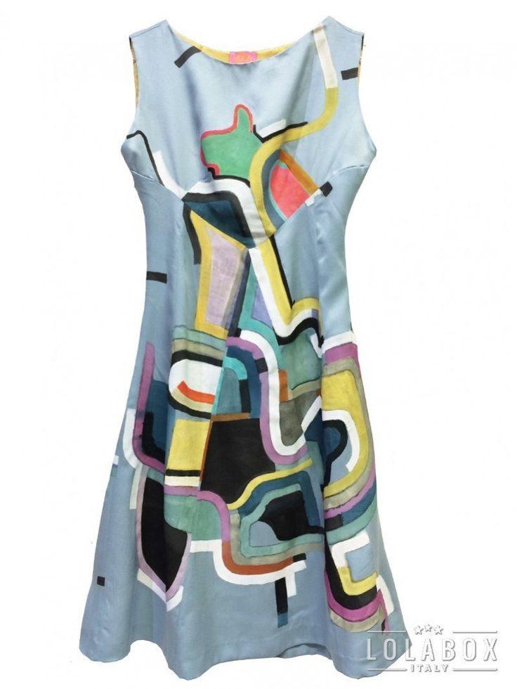 ARTWORK DRESS A6/16 Silk Light Blue Dress Hand Painted Lola Darling by A. LUGLI di loladarlingirl su Etsy