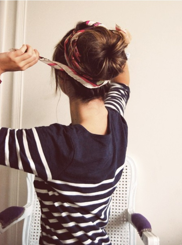 Need to remember to tie a scarf around a messy bun! Perks up the look!