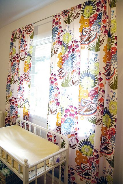 These curtains would go well with lots of paint colors. The fabric is from Anna Maria Horner's new line, Loulouthi, and the print is Summer Totem in Grapefruit