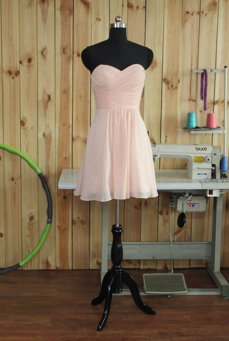 2015 Short Blush Bridesmaid Dress, Chiffon Cocktail Dress, A line Blush Prom Dress, Sweetheart Formal dress tea length by Dressesall4you on Etsy https://www.etsy.com/listing/254329059/2015-short-blush-bridesmaid-dress