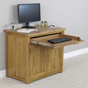 Small Oak Hideaway Computer Desk
