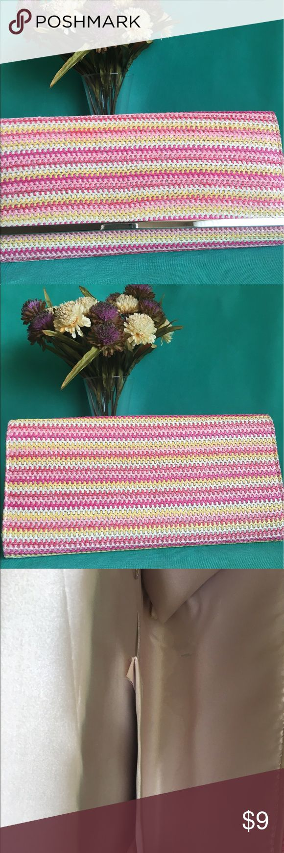 2 for $16- pink striped clutch bag Used once. The smallest imperfect in side the bag. Does not come with a strap but has the ability to have one attached.  Really cute Bags Clutches & Wristlets