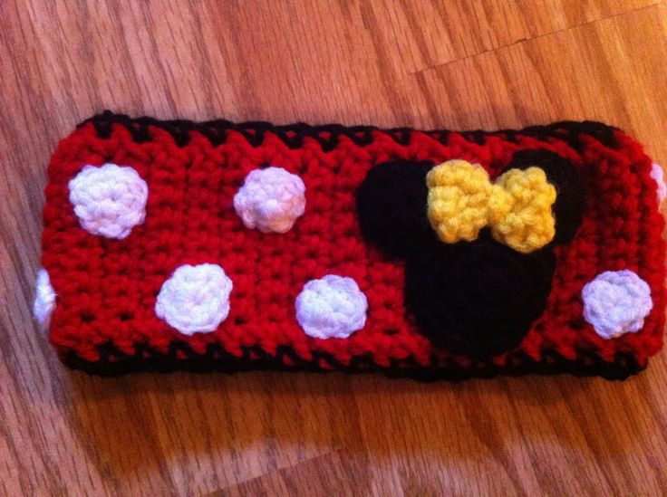 Minnie Mouse ear warmer I made this :) M.E.