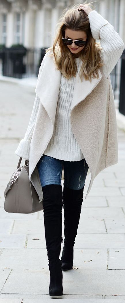 winter outfit white cable knit + pastel coat and over the knee boots