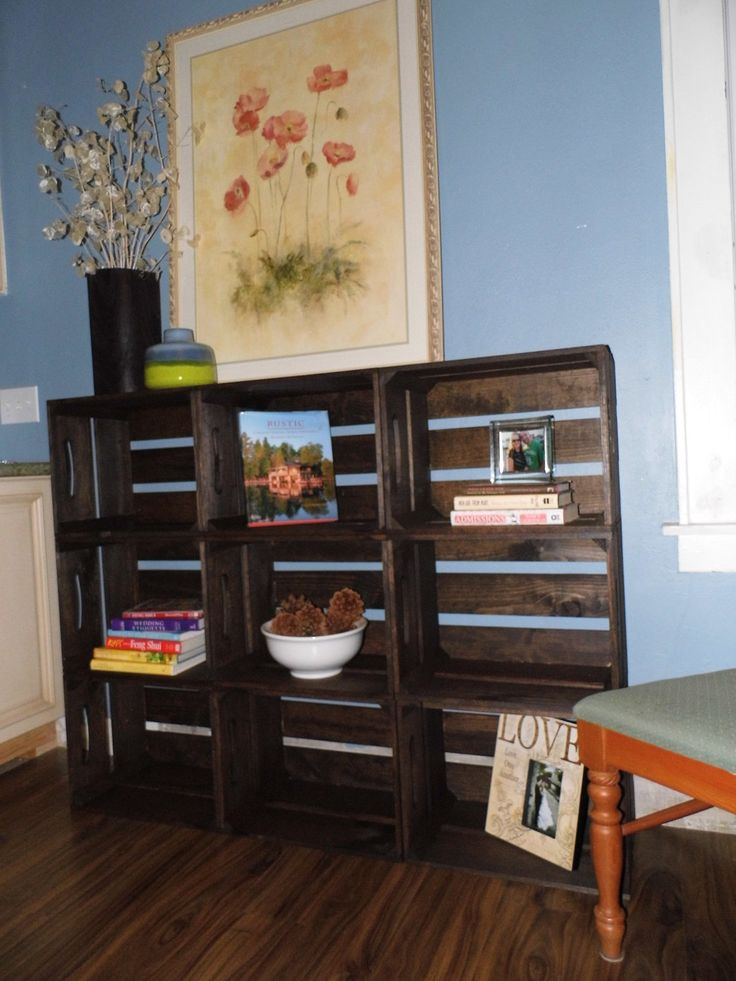 contemporary wooden crate bookshelf by DesignedForUse on Etsy, $360.00 736 x 981