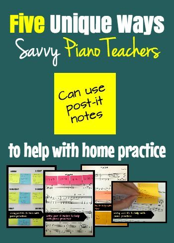 Check out these 5 strategies for using post-it notes to make home piano practice more efficient and sucessful #pianoteaching