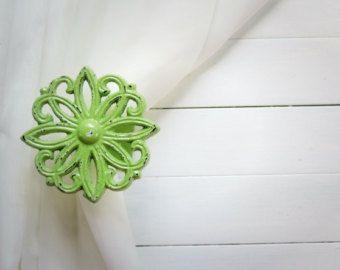 Two Metal Curtain Tie Backs / Curtain Tiebacks / Curtain Holdback / Drapery Tieback / Shabby Chic Window /Mint Green Home Decor/Curtain Hoo