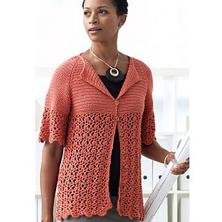 elbow-sleeve cardigan with empire waist, lace, and scalloped edging - Ravelry free pattern