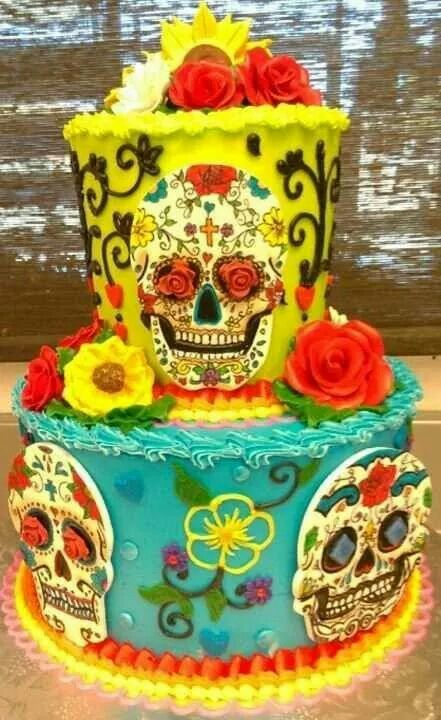 Skull decorated cake for Dia de los Muertos / All Souls Day