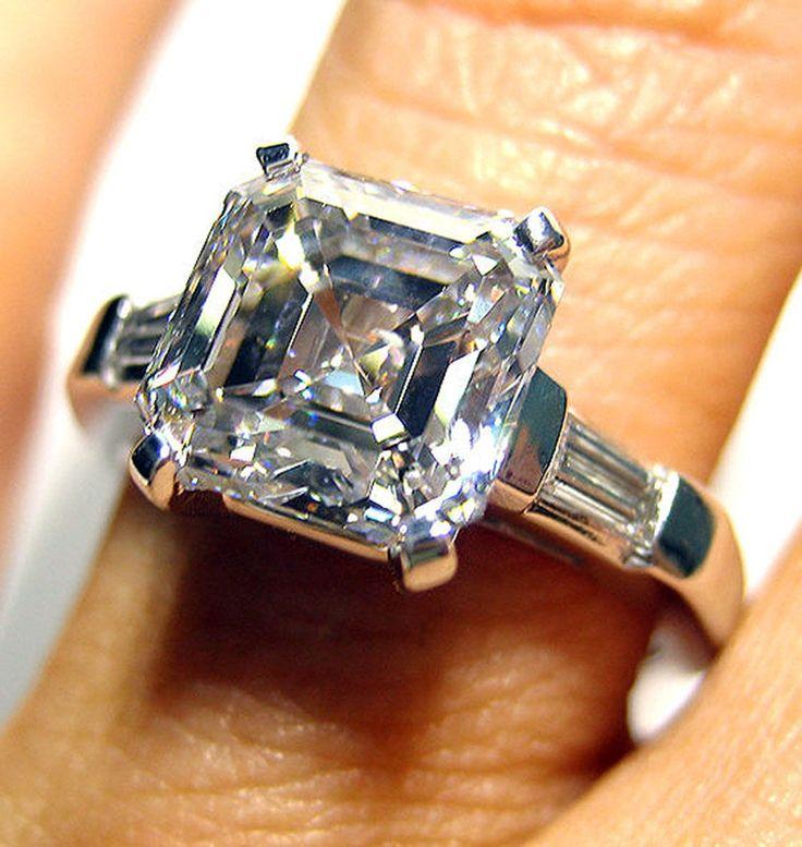 8 00 Carat GIA F VVS1 Asscher Cut 3 Stone Diamond Engagement Ring Platinum 95