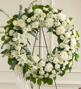Save 5%-15% EVERYDAY on our 1-800-Flowers.com Serene Blessings White Standing Wreath. Real Local Florists creating your special 1800Flowers delivery.