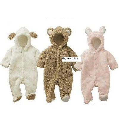 White Baby Fleece Animal costume Hooded Romper Outfit Playsuit 18-24M FT113WXL