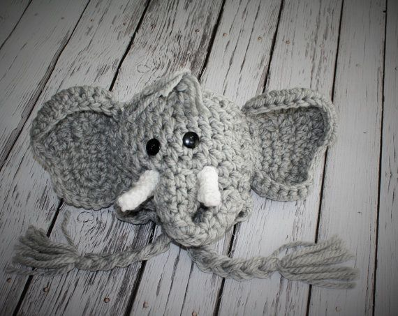NEW - Elephant Hat - Baby Elephant Hat - Crimson Tide Elephant Hat - Baby Hats - Baby Halloween Costume - Cute and Soft Earflap - by JoJo on Etsy, $28.00