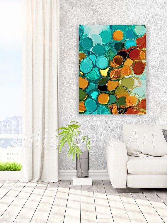 Large Abstract Art Print Blue Orange Teal Green Turquoise Etsy Turquoise Wall Art Modern Wall Art Canvas Abstract