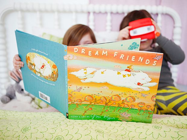 Dream Friends, by You Byun Get whisked into the world of a young girl as she watches fireworks, plays hide-and-seek, and catches stars with a big, furry friend. The hitch? She's asleep. Consider it your new bedtime go-to. Available at amazon.com, $12.