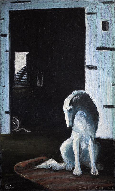 """A dog"" materials : paper, pastel  size 27,5х46,5 cm"