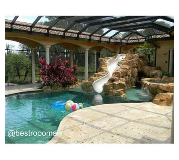 house pools with slides - House Pools With Slides