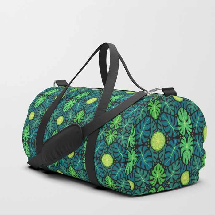 Buy Monstera leaves, floral pattern, black, green & turquoise Duffle Bag by clipsocallipso. Worldwide shipping available at Society6.com. Just one of millions of high quality products available.