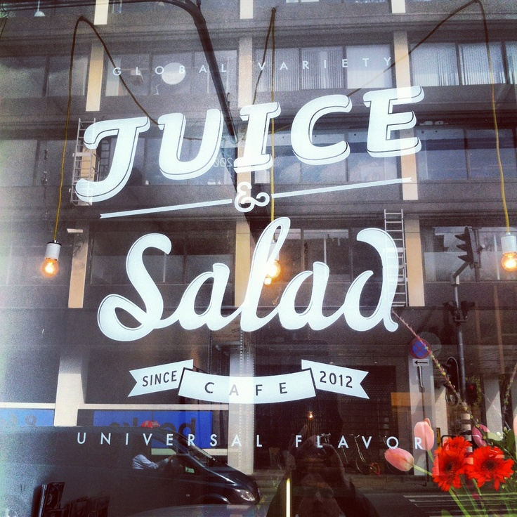 Typography logo of a juice bar at the vijzelstraat in Amsterdam